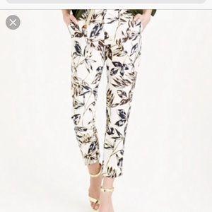 Jcrew linen gold floral print linen pants